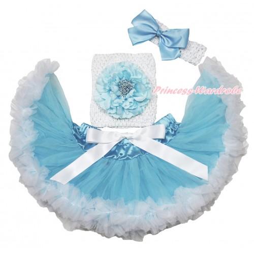 Light Blue White Baby Pettiskirt, Light Blue Peony White Crochet Tube Top,White Headband Light Blue Silk Bow 3PC Set CT701