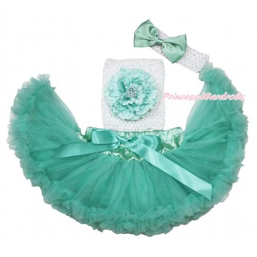 Aqua Blue Baby Pettiskirt, Peony White Crochet Tube Top,White Headband Aqua Blue Satin Bow 3PC Set CT704