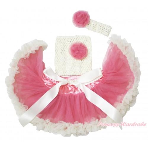 Dusty Pink Cream White Baby Pettiskirt, Dusty Pink Rose Cream White Crochet Tube Top, Cream White Headband Dusty Pink Rose 3PC Set CT707