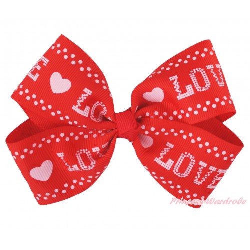 Valentine's Day Pink LOVE Red Ribbon Bow Hair Clip H1012