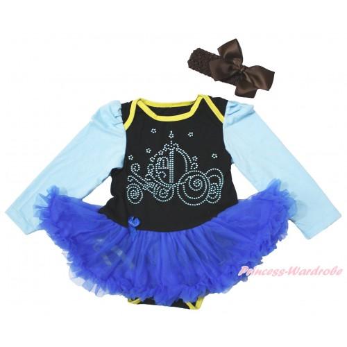 Light Blue Long Sleeve Black Bodysuit Royal Blue Pettiskirt & Sparkle Rhinestone Cinderella Carriage Print JS4452
