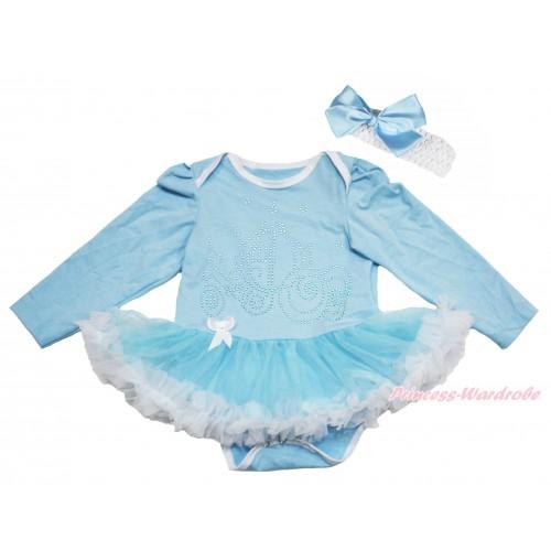 Light Blue Long Sleeve Bodysuit Light Blue White Pettiskirt & Sparkle Rhinestone Cinderella Carriage Print JS4453