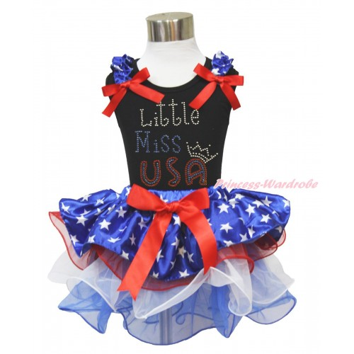 American's Birthday Black Tank Top Patriotic American Star Ruffles Red Bows & Rhinestone Little Miss USA Print & Red Bow Patriotic American Star Red White Blue Petal Pettiskirt MG1569