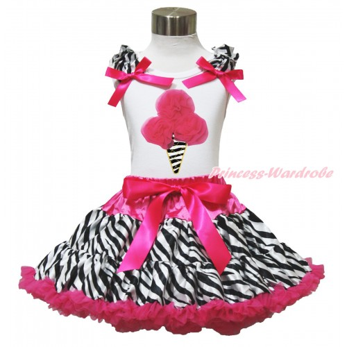 Hot Pink Zebra Pettiskirt With Hot Pink Rosettes Zebra Ice Cream White Tank Top with Zebra Ruffles&Hot Pink Bow MT07