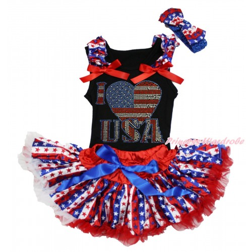 American's Birthday Black Baby Pettitop Red White Blue Striped Star Ruffles Red Bows & Rhinestone I Love USA Print & Red White Blue Striped Star Newborn Pettiskirt NG1673