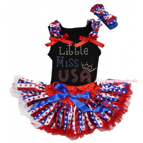 American's Birthday Black Baby Pettitop Red White Blue Striped Star Ruffles Red Bows & Rhinestone Little Miss USA Print & Red White Blue Striped Star Newborn Pettiskirt NG1674
