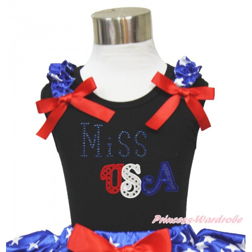 American's Birthday Black Tank Top Patriotic American Star Ruffles Red Bow & Sparkle Rhinestone Miss USA Print TB1118
