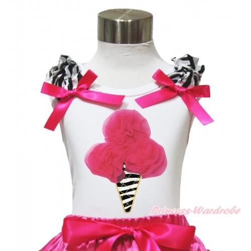 Hot Pink Zebra Ice Cream White Tank Top with Zebra Ruffles and Hot Pink Ribbon TB117