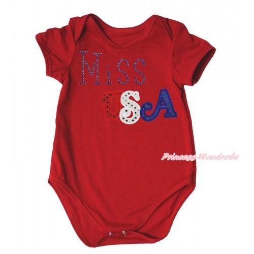 American's Birthday Red Baby Jumpsuit & Sparkle Rhinestone Miss USA Print TH570