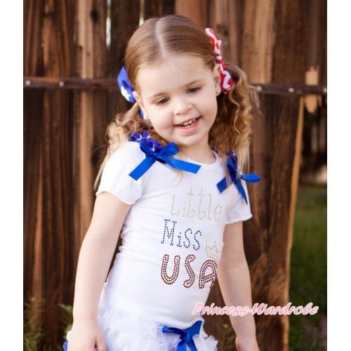 American's Birthday White Short Sleeves Top Patriotic American Stars Ruffles Royal Blue Bow & Rhinestone Little Miss USA Print TS61