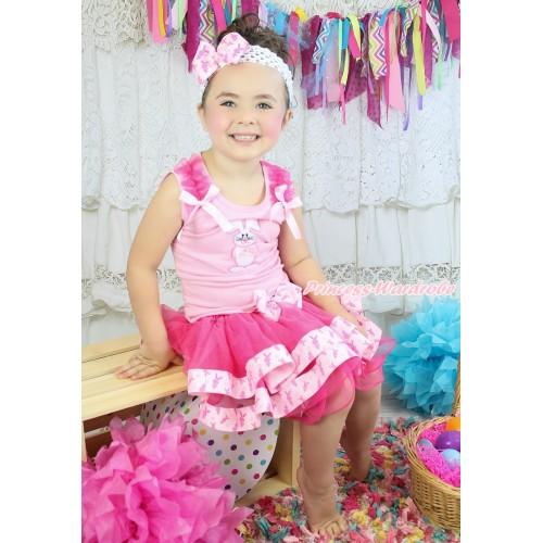 Easter Light Pink Baby Pettitop Hot Pink Ruffles Light Pink Bow & Bunny Rabbit Print & Rabbit Bow Hot Pink Rabbit Trimmed Baby Pettiskirt BG201