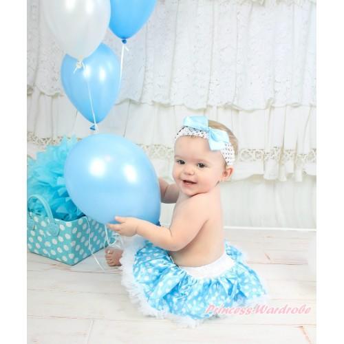 Light Blue with White Polka Pots New Born Pettiskirt N39