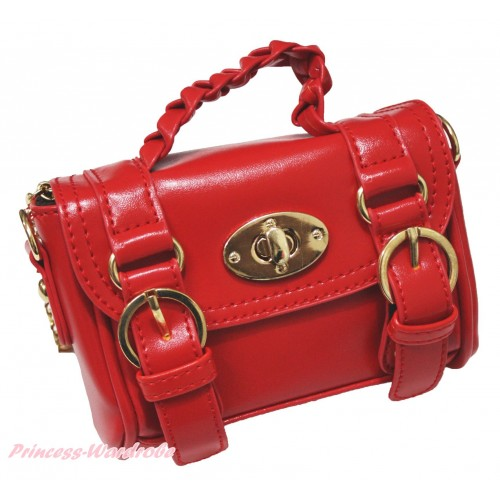 Gold Chain Hot Red Leather With Double Buckle Little Cute Petti Shoulder Bag With Strap CB182