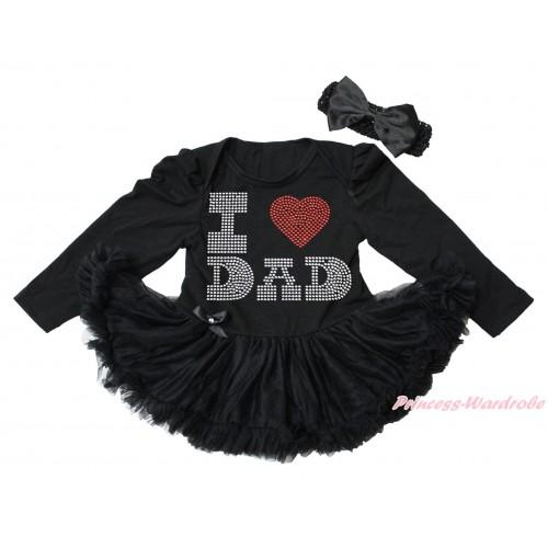 Black Long Sleeve Bodysuit Pettiskirt & Sparkle Rhinestone I Love Dad Print JS4470