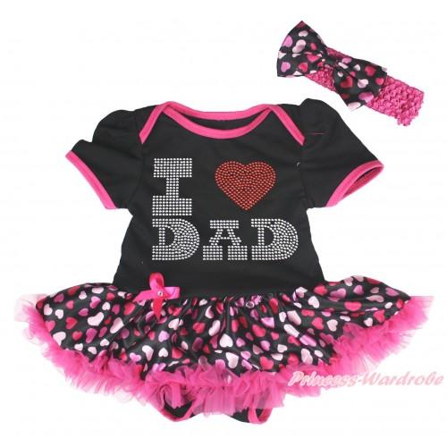 Black Baby Bodysuit Hot Pink Heart Pettiskirt & Sparkle Rhinestone I Love Dad Print JS4471