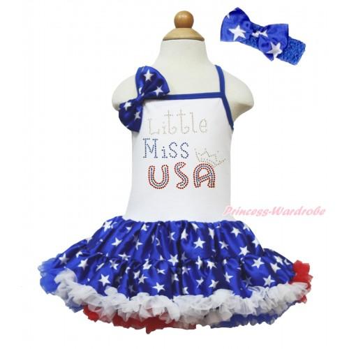 American's Birthday White Halter Patriotic American Star ONE-PIECE Dress & American Star Satin Bow & Sparkle Rhinestone Little Miss USA Print LP202