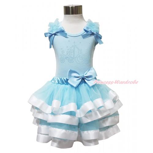 Light Blue Baby Pettitop & Ruffles & Bows & Sparkle Rhinestone Cinderella Carriage & Light Blue White Trimmed Newborn Pettiskirt NG1684