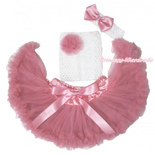 Dusty Pink Baby Pettiskirt, Rose White Crochet Tube Top, White Headband Dusty Pink Silk Bow 3PC Set CT706