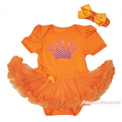 Queen's Day Orange Baby Bodysuit Pettiskirt & Sparkle Light Pink Crown Print JS4446