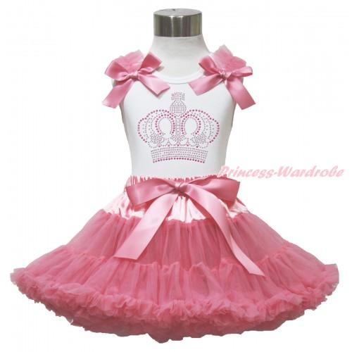 White Tank Top Dusty Pink Ruffles & Bow & Sparkle Rhinestone Crown Print & Dusty Pink Pettiskirt MG1542