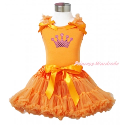 Queen's Day Orange Tank Top Orange Ruffles & Bow & Sparkle Light Pink Crown Print & Orange Pettiskirt MN142