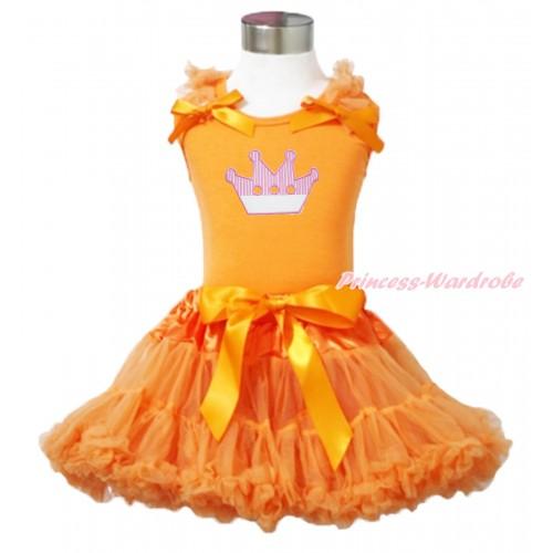 Queen's Day Orange Tank Top Orange Ruffles & Bow & Crown Print & Orange Pettiskirt MN143