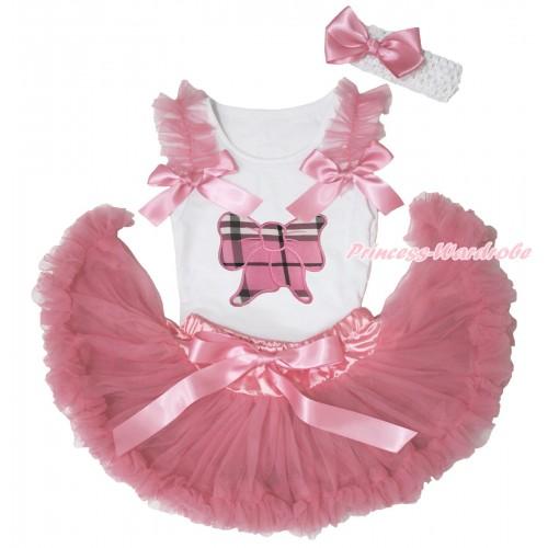 White Baby Pettitop Dusty Pink Ruffles & Bows & Light Pink Checked Butterfly Print & Dusty Pink Newborn Pettiskirt NN277