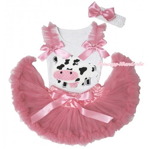 White Baby Pettitop Dusty Pink Ruffles & Bows & Milk Cow Print & Dusty Pink Newborn Pettiskirt NN278