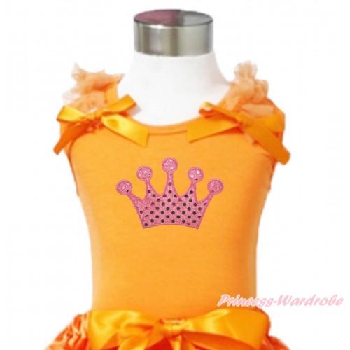 Queen's Day Orange Tank Top Orange Ruffles & Bows & Sparkle Light Pink Crown Print TN272