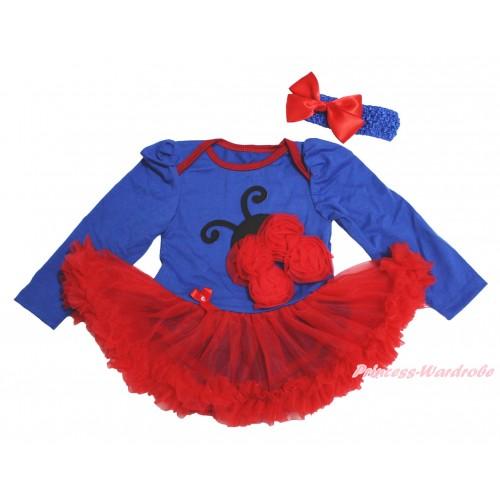 Royal Blue Long Sleeve Bodysuit Red Pettiskirt & Red Rosettes Beetle Print JS4501