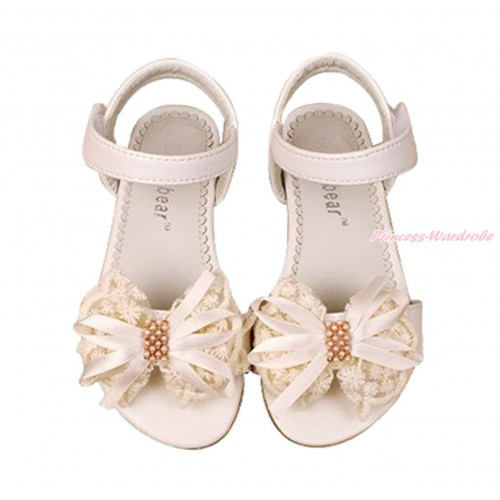 Cream White Lace Pearl Bow Flat Ankle Sandals L05-85CreamWhite