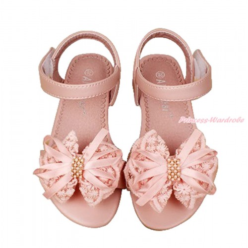 Light Pink Lace Pearl Bow Flat Ankle Sandals L05-85LightPink