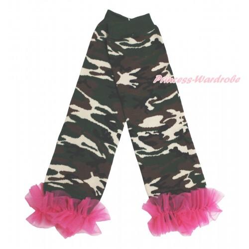 Newborn Baby Camouflage Leg Warmers Leggings & Hot Pink Ruffles LG290