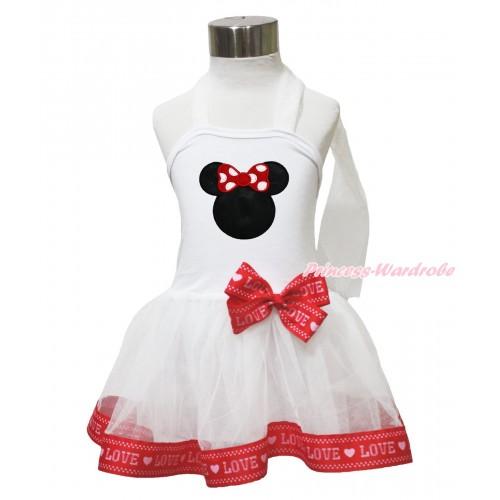 White & Red LOVE Trimmed Halter Dress & Red Minnie LP216