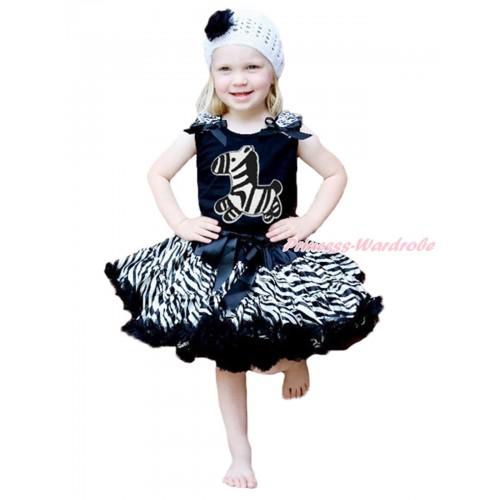 Black Baby Pettitop Zebra Ruffles Black Bows & Zebra Print & Black Zebra Newborn Pettiskirt NG1707