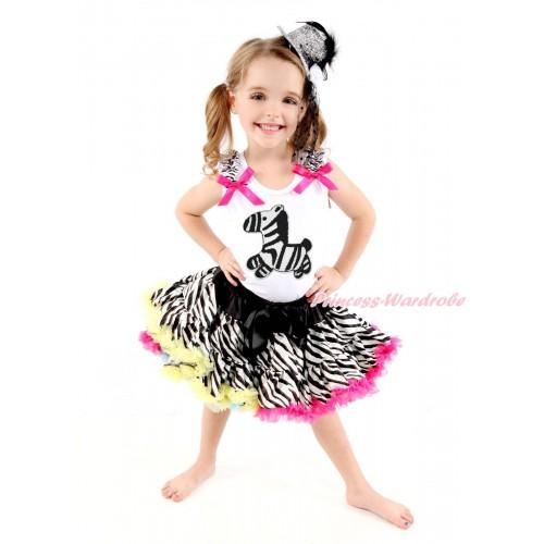 White Baby Pettitop Zebra Ruffles Hot Pink Bows & Zebra Print & Rainbow Zebra Newborn Pettiskirt NG1711