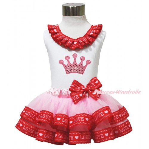 Valentine's Day White Baby Pettitop Red LOVE Lacing & Sparkle Pink Daddy's Princess Crown Print & Light Pink Red LOVE Trimmed Newborn Pettiskirt NG1737