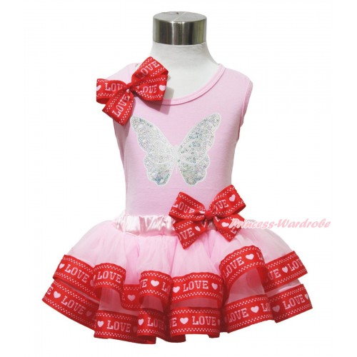 Light Pink Baby Pettitop Red LOVE Bow & Sparkle White Butterfly Print & Light Pink Red LOVE Trimmed Baby Pettiskirt NG1742