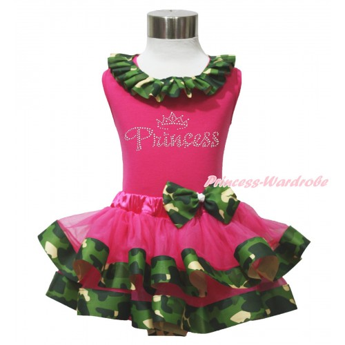 Hot Pink Baby Pettitop Camouflage Lacing & Sparkle Rhinestone Princess Print & Hot Pink Camouflage Trimmed Newborn Pettiskirt NG1751
