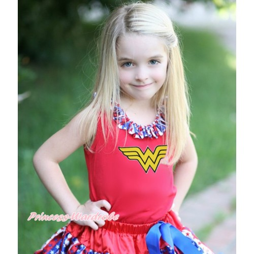 Red Tank Top Red White Blue Striped Star Lacing & Wonder Woman Print TB1165