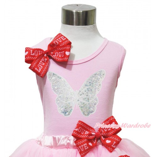Light Pink Tank Top Red LOVE Bow & Sparkle White Butterfly Print TB1169
