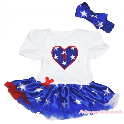 American's Birthday White Baby Bodysuit Patriotic American Star Pettiskirt & 1st Birthday Number American Star Heart JS4484