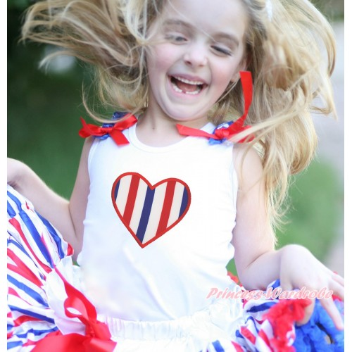 American's Birthday White Tank Top Patriotic American Star Ruffles Red Bow & Red White Blue Striped Heart Print TB1137