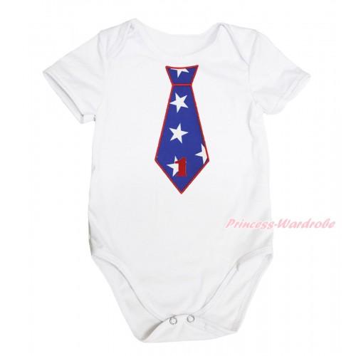 American's Birthday White Baby Jumpsuit & 1st Birthday Number American Star Tie Print TH574