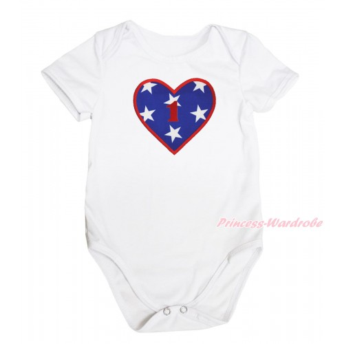 American's Birthday White Baby Jumpsuit & 1st Birthday Number American Star Heart Print TH576