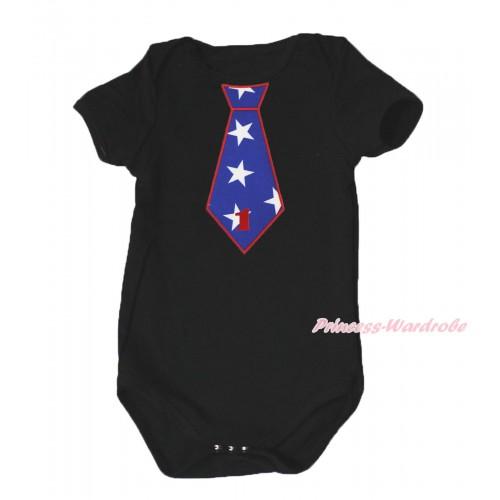 American's Birthday Black Baby Jumpsuit & 1st Birthday Number American Star Tie Print TH578