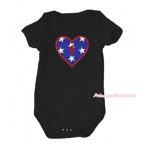 American's Birthday Black Baby Jumpsuit & 1st Birthday Number American Star Heart Print TH580