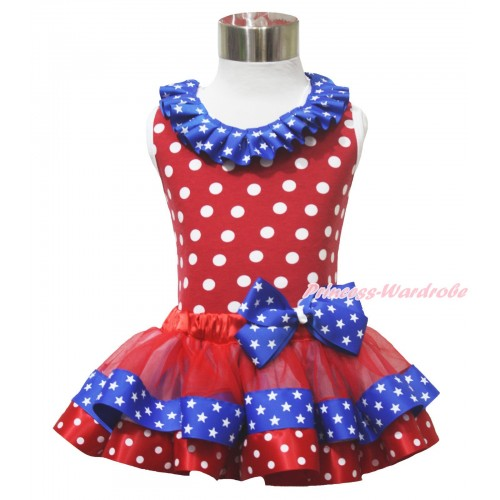 American's Birthday 4th July Red White Dot Tank Top Star Lacing Red Minnie Royal Blue Patriotic Star & Bow Satin Trimmed Pettiskirt MG1631