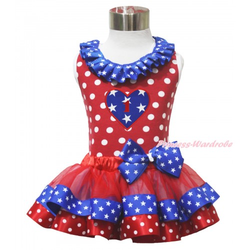 American's Birthday 1ST 4th July Heart Red White Dot Tank Top Star Lacing Red Minnie Blue Patriotic Star Satin Trimmed Pettiskirt MG1636