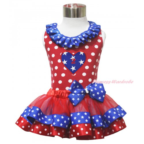 American's Birthday 2ND 4th July Heart Red White Dot Tank Top Star Lacing Red Minnie Blue Patriotic Star Satin Trimmed Pettiskirt MG1637